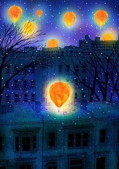 Фото Воздушные шары в ночном небе над городом