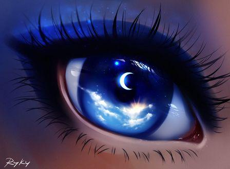 Фото Глаз, внутри которого ночное небо с полумесяцем и солнце, скрывающееся за облаками