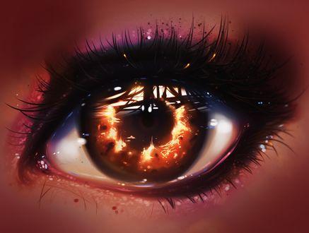 Фото Глаз с огнем на зрачке, ву ryky