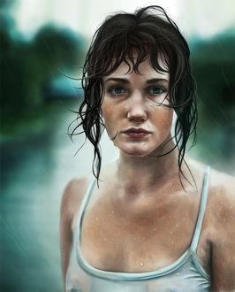Фото Темноволосая девушка с пирсингом в носу стоит под дождем, by agnes-cecile