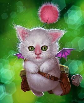 Фото Смешной котенок вампирчик с крылышками куда-то летит, рис. Рэндиса Альбиона / Randis Albion