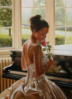 Фото Грустная девушка у рояля с алой розой в руке, художник Rob Hefferan