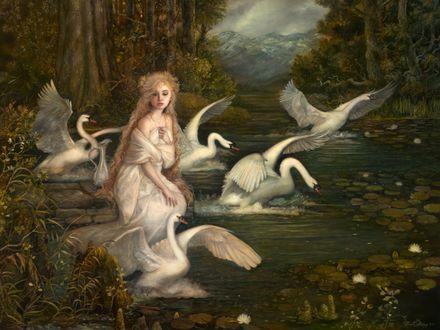 Фото Девушка в окружении сказочных лебедей, сказочный иллюстратор Annie Stegg / Энни Стегг