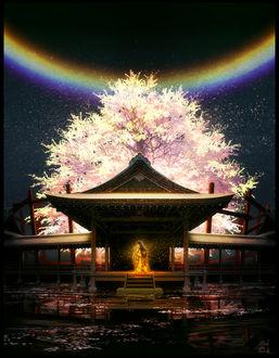 Фото Девушка в золотом свечении стоит на крыльце храма, над которым возвышается цветущая сакура, а в ночном небе светит радуга