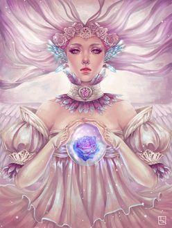 Фото Девушка с розовыми розами в волосах смотрит на зрителя, by Еrafleur