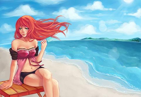 Фото Рыжеволосая девушка сидит на деревянном стуле и держит в левой руке мороженое на фоне неба и моря, by Serafleur