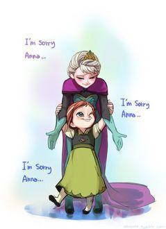 Фото Эльза / Elza и ее маленькая сестра Анна / Anna, арт на мультфильм Холодное сердце / Frozen (Im sorry Anna.)