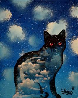 Фото Силуэт черного кота с облаками и месяцем на нем, by Raphael Vavasseur