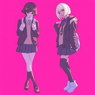 Фото Две школьницы на розовом фоне, by Кувшинов Илья