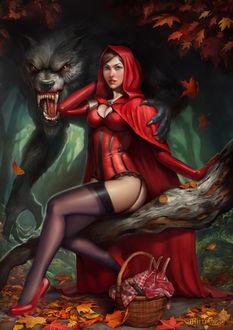 Фото Красная Шапочка сидит с Серым Волком, рядом корзиночка с пирожками для пикника
