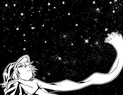 Фото Мальчик глядит на ночное небо, Lag Seeing / Лаг Сиинг Tegami Bachi / Letter Bee / Почтовая Пчела / Пчелиная Почта
