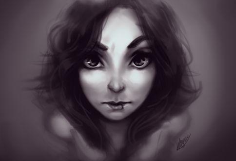 Фото Темноволосая девушка с пирсингом на нижней губе смотрит на зрителя, by Wernope