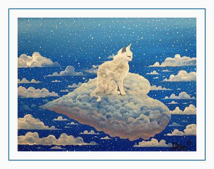 Фото Облачный котенок сидит на облачном сердечке, by Raphael Vavasseur