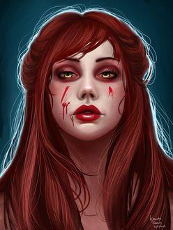 Фото Рыжеволосая девушка-вампир с кровью на лице, by agnes-green