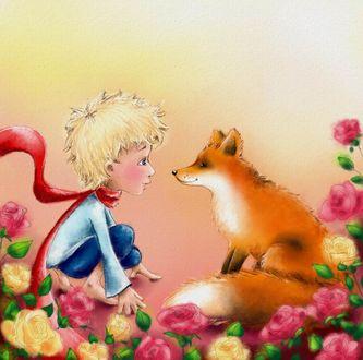 Фото Маленький принц с лисой среди розовых и желтых роз