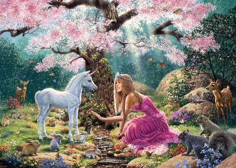 Фото Девушка в розовом платье сидит у ручья, рядом животные белый единорог, кролики, белки, олени, летают бабочки, работа художника Steve Read