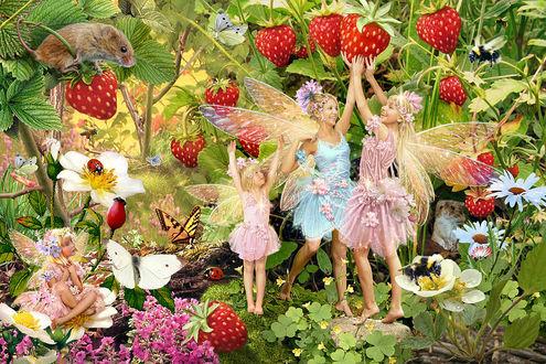 Фото Девушки и девочки эльфы в ягодах земляники, работа художника Steve Read