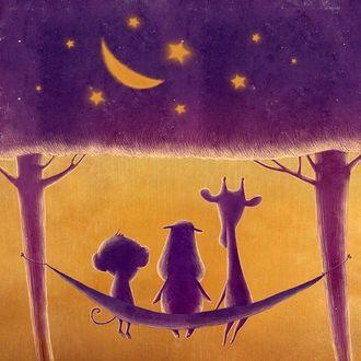 Фото Бегемотик, обезьянка и жираф сидят в гамаке, привязанном между двух деревьев, листва которых представляет собой ночное звездное небо