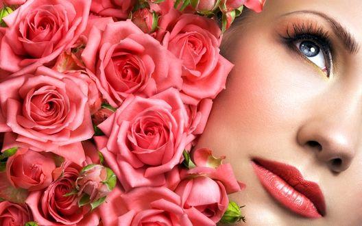 Фото Лицо девушки и букет роз