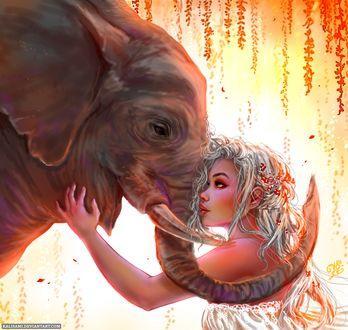 Фото Девушка стоит возле слона, by Kalisami
