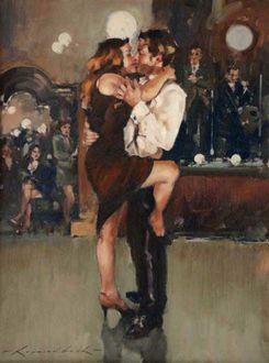 Фото Танцующие мужчина и девушка, британский художник Raymond Leech / Раймонд Лич