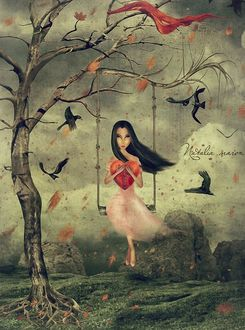 Фото Девушка с сердечком сидит на карусели, by Наталья Мороз