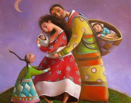 Фото Мужчина, женщина и их дети, картина художника Марианны Калачевой