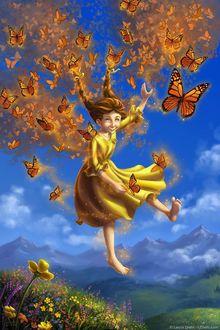 Фото Девочка в окружении бабочек парит в небе, by ldiehl