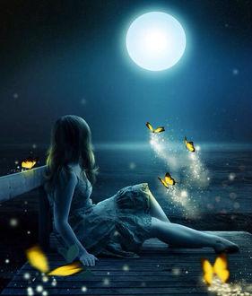 Фото Девушка сидит на мосту в окружении бабочек, любуясь ночным небом с луной