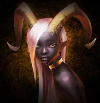 Фото Темнокожая рогатая девушка с разноцветными глазами, by Chalii