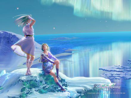 Фото Девушка любуется северным сиянием, другая девушка смотрит на нее (Celestial exploring by kagaya)