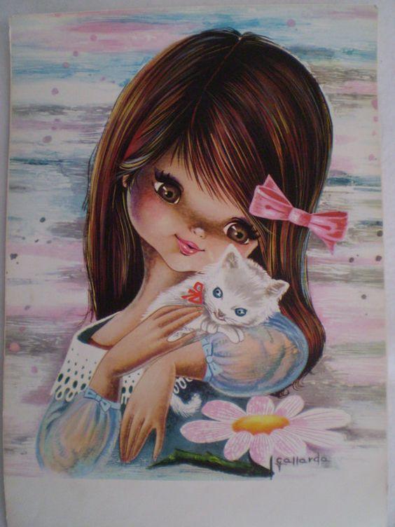 Новым, картинки девочка и котик рисованные