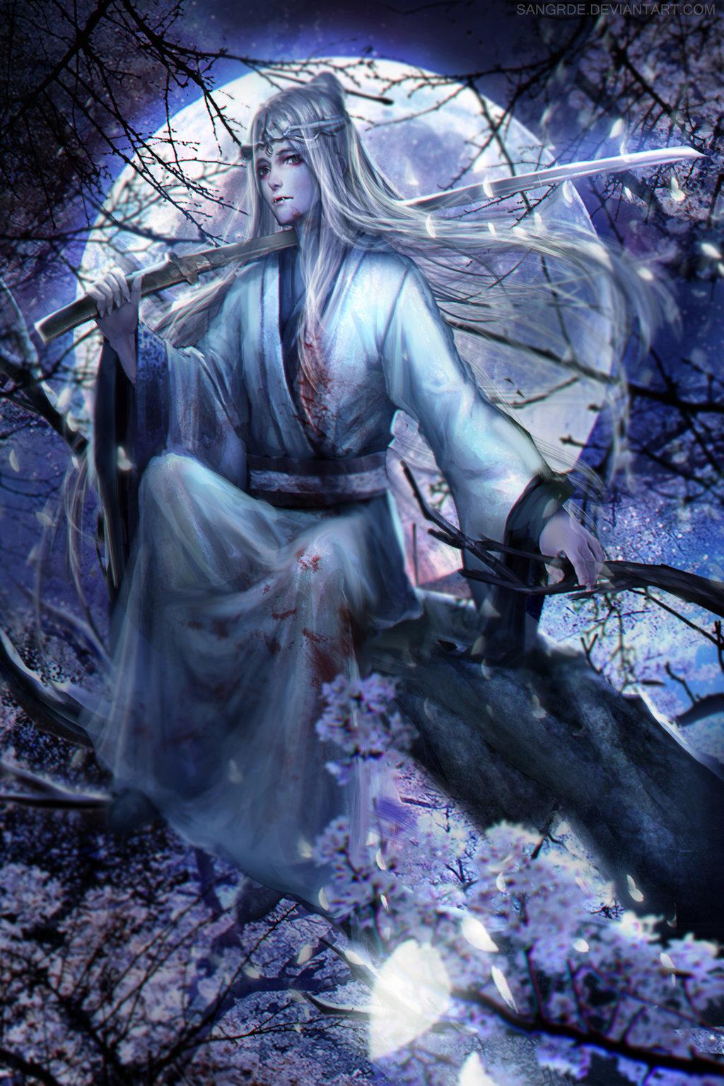 Фото Белокурый вампир в окровавленном кимоно с катаной в руке сидит на ветке цветущей сакуры на фоне полной луны, by Sangrde