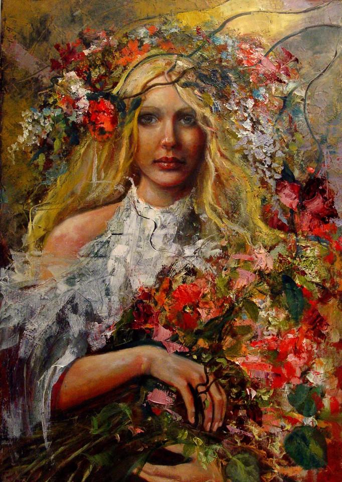 Фото Девушка со светлыми волосами держит в руках цветы, художница Bh Konstancja