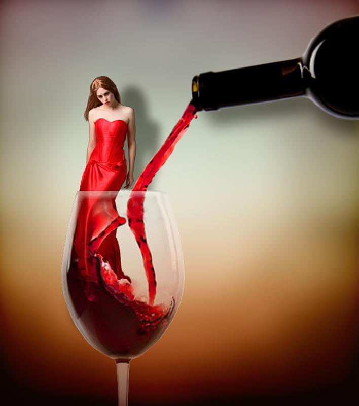 Картинки про вино и девушек, молодожены кусают