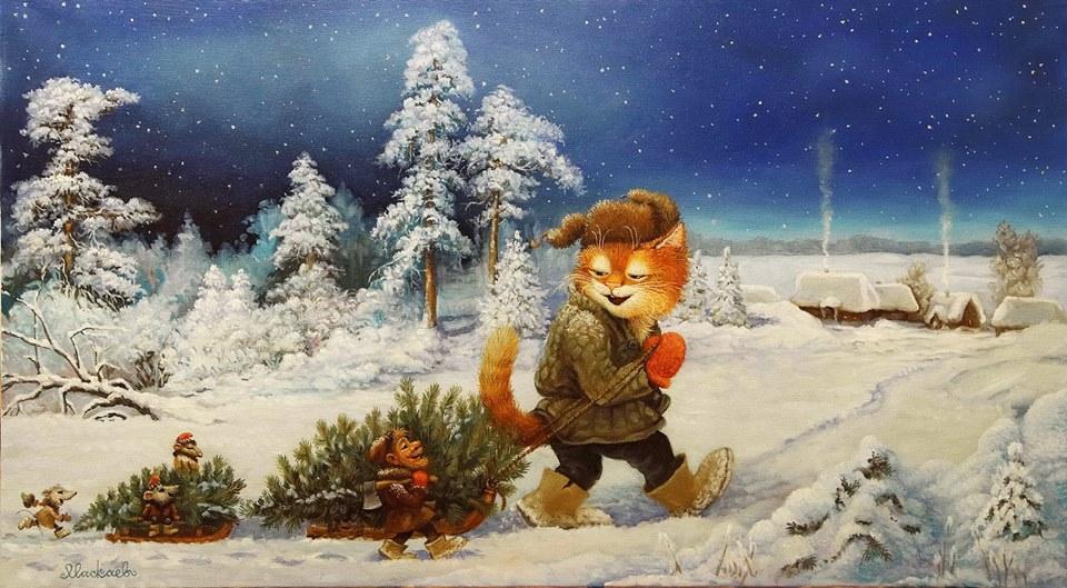 Фото Рыжий кот в шапке-ушанке везет елку в санках, рядом идет гном с топором, на маленьких санках едут мышки, художник А. Москаев