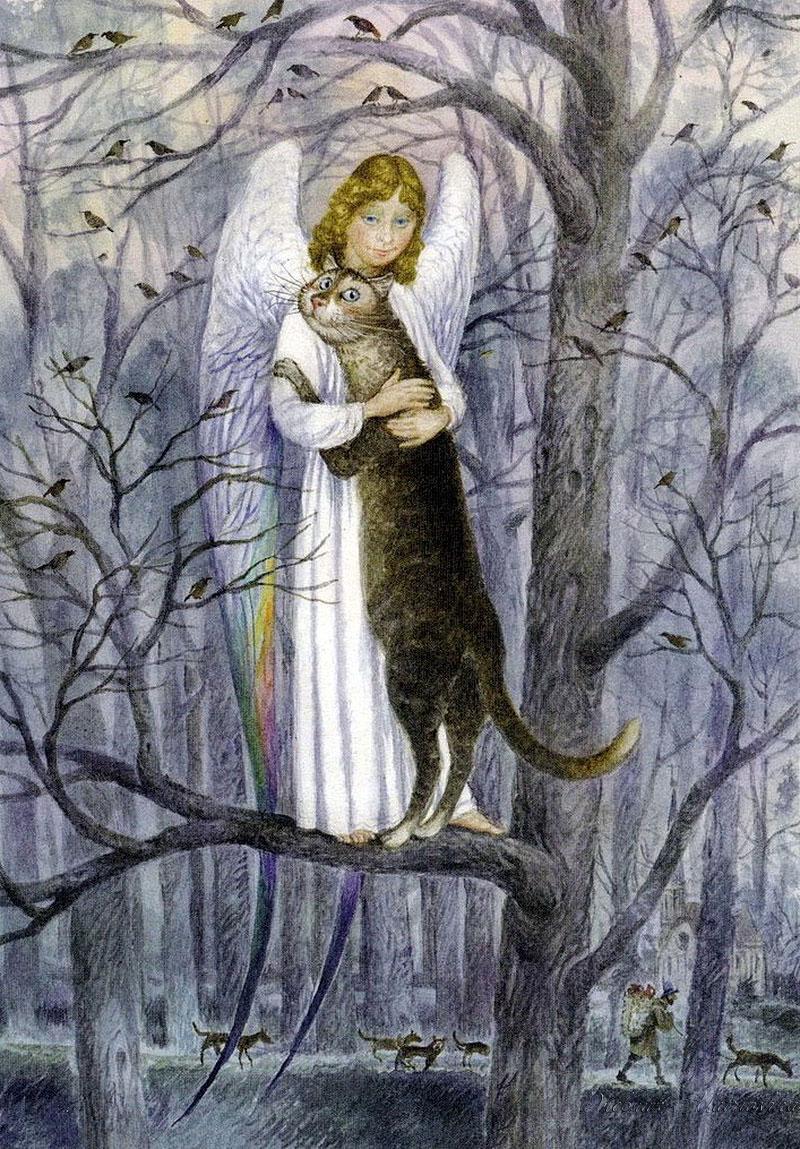 Фото Серый кот и ангел в белой одежде стоят, обнявшись на ветке дерева, усыпанного сидящими птицами, внизу под деревом по дороге идет старик, несущий поклажу за спиной и бегут собаки, художник Владимир Румянцев