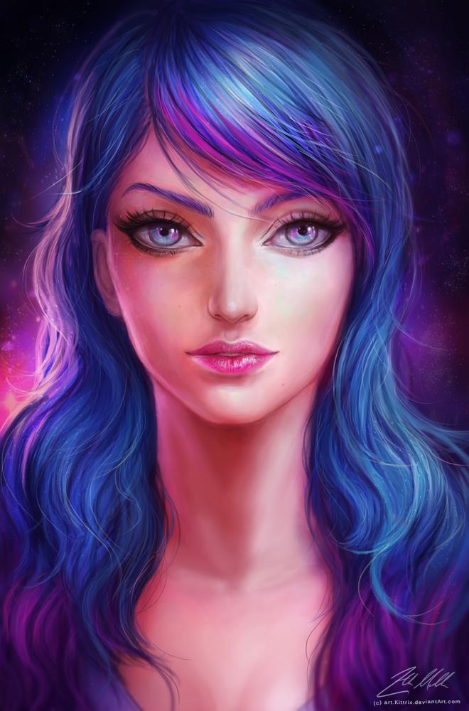Нарисованная картинка девушки с цветными волосами