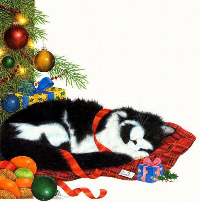 Другу прикольную, открытки котов с елочкой
