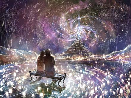 Фото Парень и девушка любуются извержением вулкана под звездным дождем