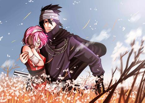 Фото Саске Учиха / Sasuke Uchiha и Сакура Харуно / Sakura Haruno из аниме Наруто / Naruto