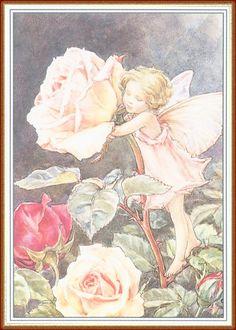 Фото Маленькая девочка-эльф обнимает прекрасную розу, стоя на ее листьях