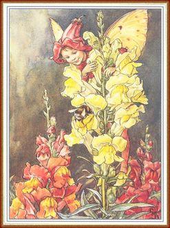 Фото Мальчик-эльф в шапочке из цветка прячется от шмеля
