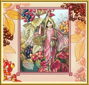 Фото Девочка-эльф стоит на листьях боярышника, держась за его стебли