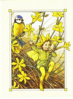 Фото Эльф качаетсят на желтом цветке, позади него сидит синица