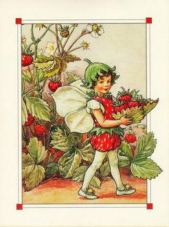 Фото Клубничный эльф несет в листьях ягоды клубники