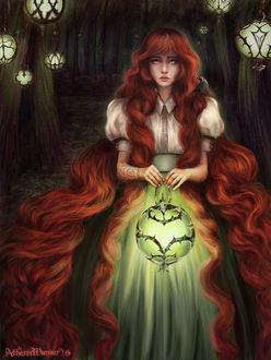 Фото Девушка с длинными рыжими волосами держит в руках фонарик, by Athenapallas87