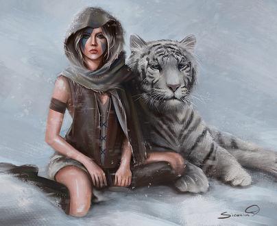 Фото Девушка сидит на снегу возле белого тигра, by Sicarius8