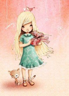 Фото Девочка держит в руках подарок, у ее ног сидит рыжий котенок, художница Anne Cresci