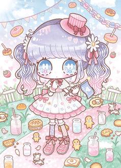 Фото Девочка в шляпке и со слезами на глазах стоит на дорожке, а все вокруг покрыто коктейлями, блинами, пряничными человечками, пончиками и клубникой